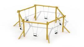 Balançoire hexagonale en robinier (sièges avec anneau de sécurité)