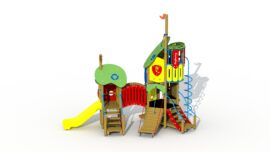 The frog prince (plastic slide and arched bridge)
