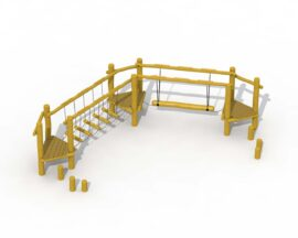 Agility trail in robinia (wobbly footbridge and floating beam)
