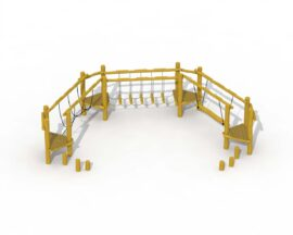 Agility trail in robinia (semicircle with rope bridge, wobbly footbridge and floating beam)