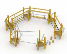 Parcours d'agilité en robinier (cercle avec câble d'équilibre, pont de corde, pont souple et poteau qui plane)
