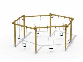 Balançoire hexagonale (sièges en caoutchouc avec anneau de sécurité)