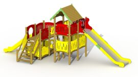 Pirates den (low plastic slide and high stainless steel slide)