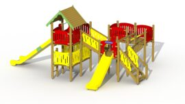 Robin hood's hideout (low plastic slide and high stainless steel slide)