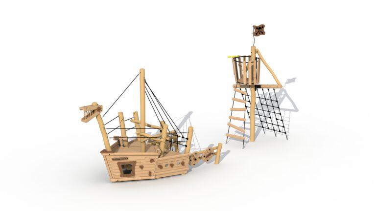 Bateau pirate Albatros (proue + mât d'observation)