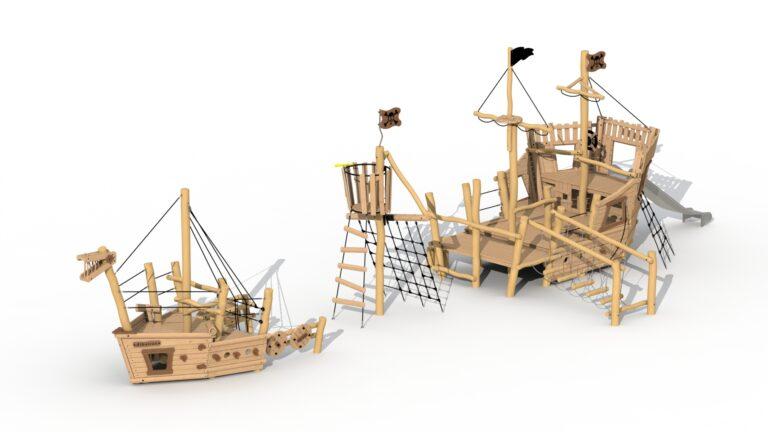 Bateau pirate Albatros (proue + mât d'observation + poupe)